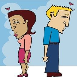 dessin homme et femme timide